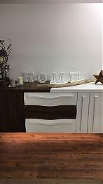 Sideboard mit Alteiche Furnier und Weißlack Front